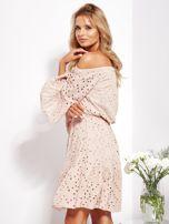 Beżowa rozkloszowana sukienka hiszpanka z haftem                                  zdj.                                  6