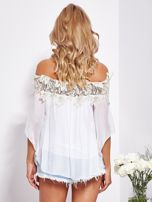 Biała warstwowa bluzka hiszpanka z koronką                                  zdj.                                  3