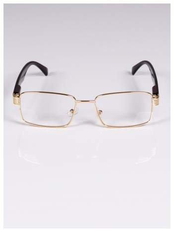 +3.5 D Delikatne złoto-brązowe okulary korekcyjne do czytania z sytemem FLEX na zausznikach