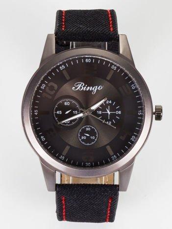 Nowoczesny i duży męski zegarek z ozdobnym chronografem