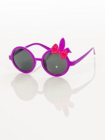 ZAJĄCZEK Z KOKARDĄ Dziecięce fioletowe okulary  z filtrami,odporne na wyginania