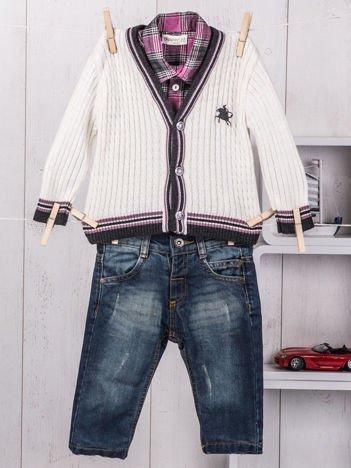 3-częściowy wizytowy zestaw niemowlęcy sweterek koszula i jeansy dla chłopca ecru-granatowy