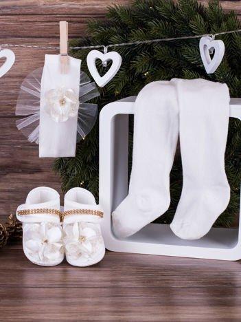 3-elementowy komplet wizytowy dla dziewczynki z białym kwiatuszkiem