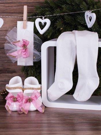 3-elementowy komplet wizytowy dla dziewczynki z ozdobnymi kokardkami biały