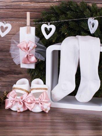 3-elementowy komplet wizytowy dla dziewczynki z różową kokardką biały