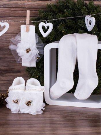 3-elementowy niemowlęcy komplet wizytowy dla dziewczynki z białym kwiatuszkiem,