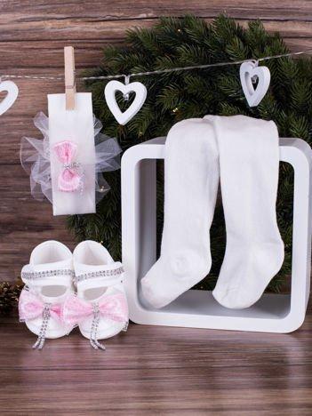3-elementowy niemowlęcy komplet wizytowy dla dziewczynki z różową kokardą, biały