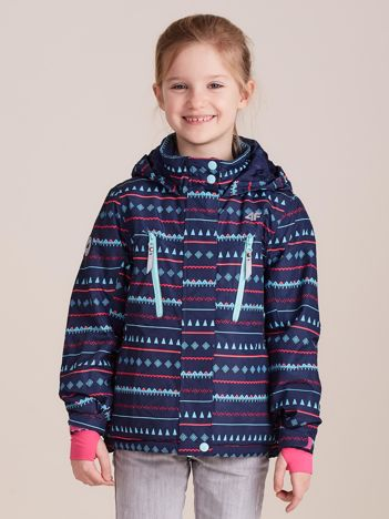 4F Granatowa wzorzysta kurtka narciarska dla dziewczynki