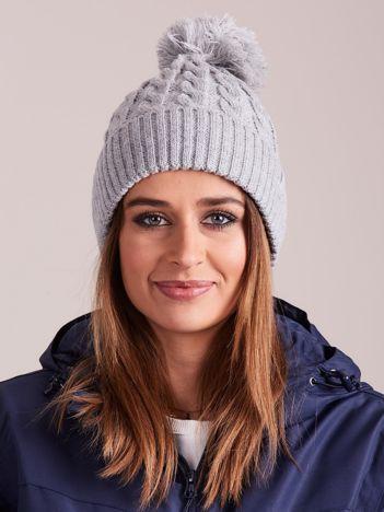 4F Jasnoszara melanżowa czapka zimowa z pomponem
