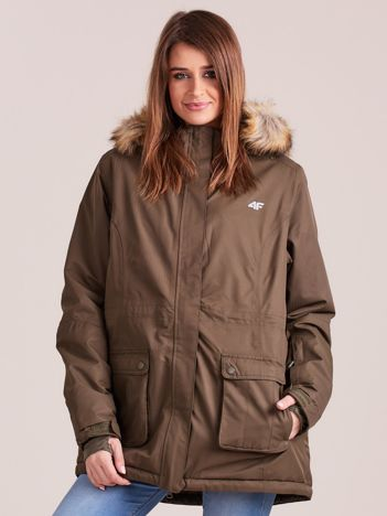 4F Khaki kurtka narciarska z kapturem