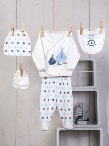 5-elementowy 100% bawełniany zestaw wyprawka niemowlęca z marynarskim haftem biało-niebieska