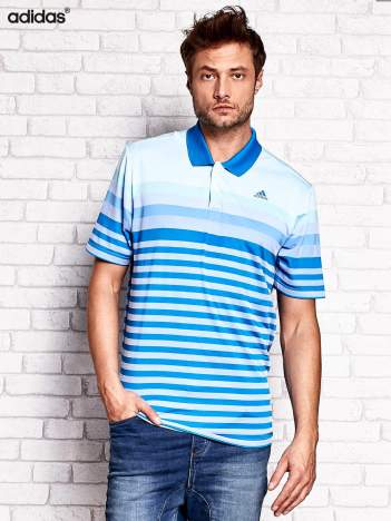 ADIDAS Niebieska koszulka polo męska w paski