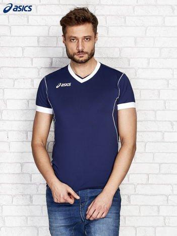 ASICS Granatowy t-shirt męski z kontrastową lamówką