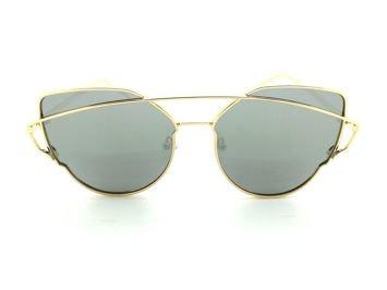 ASPEZO Okulary przeciwsłoneczne damskie POLARYZACYJNE złoto-srebrne LOS ANGELES Etui skórzane, etui miękkie oraz ściereczka z mikrofibry w zestawie