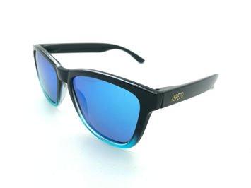 ASPEZO Okulary przeciwsłoneczne unisex POLARYZACYJNE czarno-błękitne LONDON Etui skórzane, etui miękkie oraz ściereczka z mikrofibry w zestawie