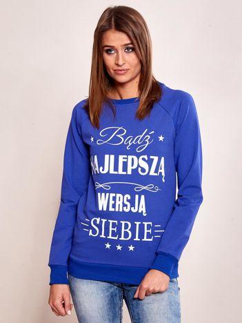 Ametystowa dresowa bluza damska z napisem