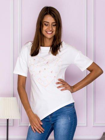 Asymetryczna bluzka z sercem biała