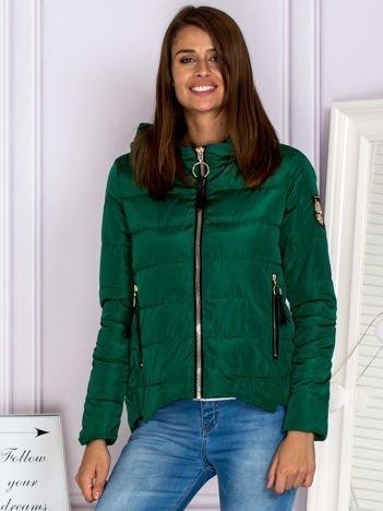 Asymetryczna kurtka zimowa z kapturem zielona