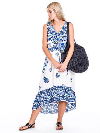 Asymetryczna sukienka w etniczne wzory niebieska
