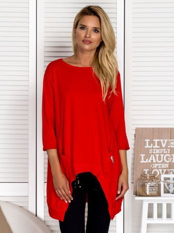 Asymetryczna tunika damska czerwona