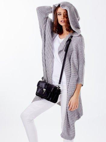 Asymetryczny sweter nietoperz z kapturem jasnoszary