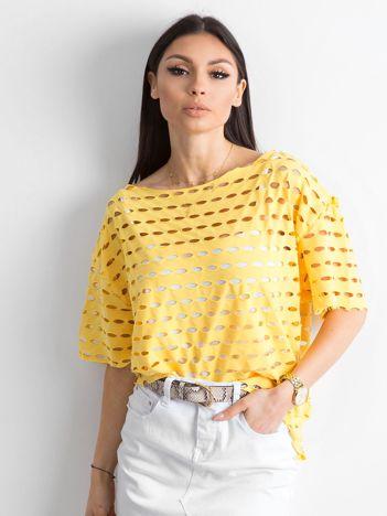 Ażurowa bluzka damska żółta