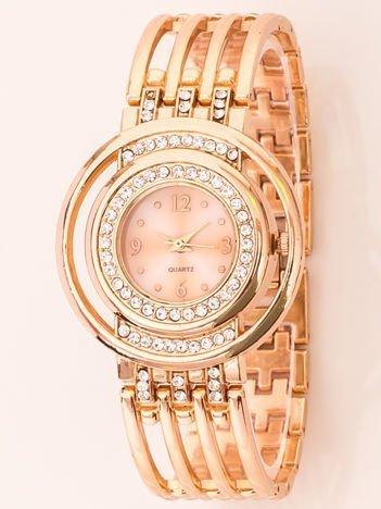 Ażurowy Zegarek Damski Na Bransolecie Z Czerwonego Złota
