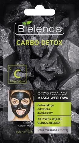 BIELENDA Carbo Detox Czarny Węgiel Maska oczyszczająca do cery mieszanej i tłustej 8g