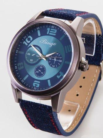BINGO Nowoczesny i duży męski zegarek JEANS