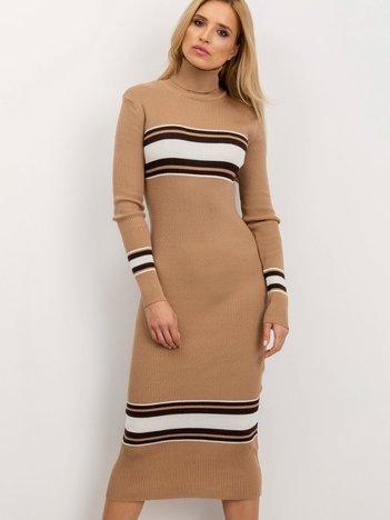 BSL Ciemnobeżowa sukienka w prążek