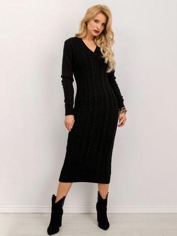 BSL Czarna sukienka dzianinowa