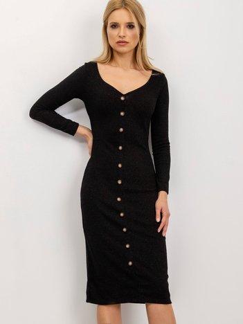 BSL Czarna sukienka z guzikami