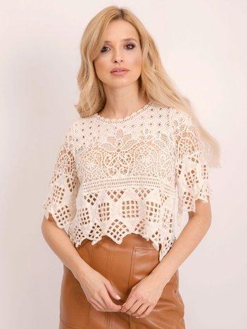 BSL Jasnobeżowa ażurowa bluzka