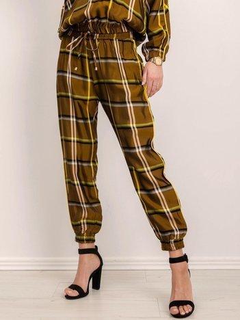 BSL Khaki spodnie w kratę