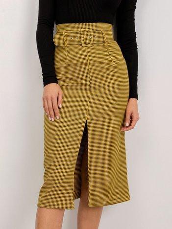 BSL Żółta spódnica w pepitkę