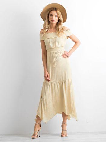 BY O LA LA Beżowa asymetryczna sukienka