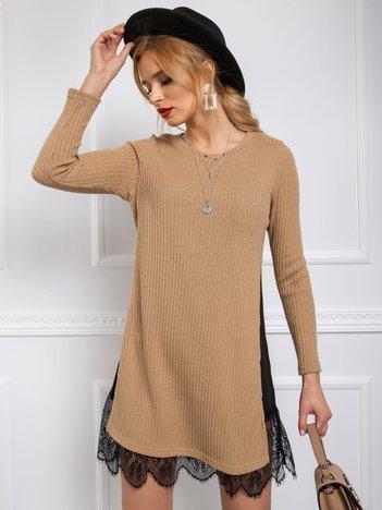 BY O LA LA Beżowy długi sweter