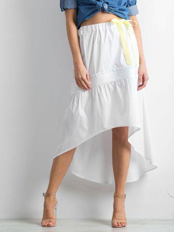 BY O LA LA Biała spódnica z dłuższym tyłem