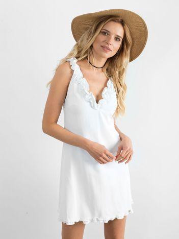 BY O LA LA Biała sukienka mini