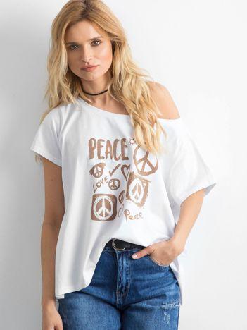 BY O LA LA Biały t-shirt oversize