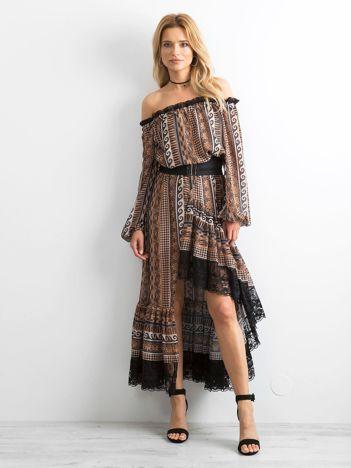 BY O LA LA Brązowa asymetryczna sukienka