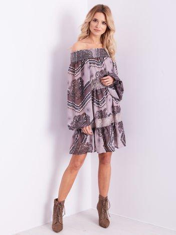 BY O LA LA Ciemnobeżowa wzorzysta sukienka hiszpanka