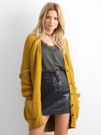 BY O LA LA Ciemnożółty długi sweter
