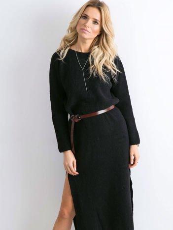 BY O LA LA Czarna długa sukienka z dzianiny