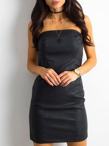 BY O LA LA Czarna skórzana sukienka