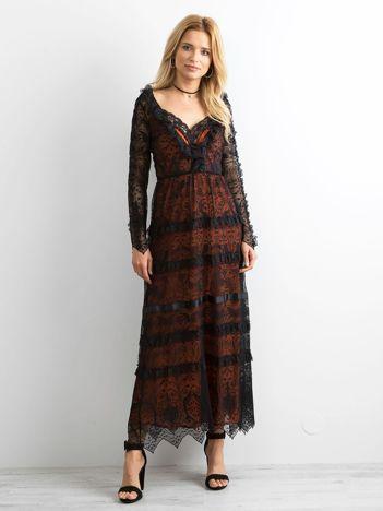 BY O LA LA Czarna sukienka maxi z koronki
