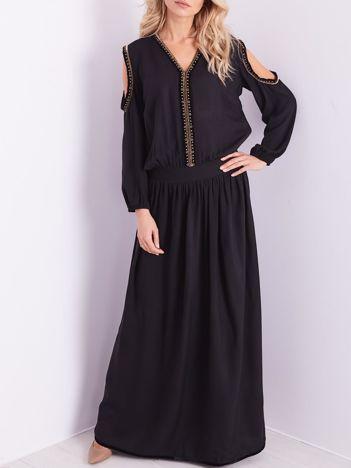 BY O LA LA Czarna sukienka maxi z wycięciami na ramionach