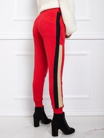 BY O LA LA Czerwone spodnie dresowe