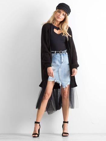 BY O LA LA Długi czarny sweter