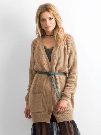 52c3931bb4 BY O LA LA Długi jasnobrązowy sweter